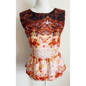 W118 Walter Baker • Orange White Zip Back Peplum